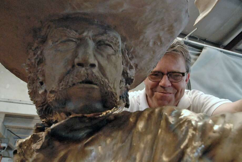 Sculptor Craig Campobella with his bronze statue taken in his studio Thursday 3/24/11. Photo by Tony Bullard. Photo: Tony Bullard / Freelance Credit: Tony Bullard