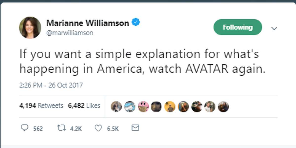 If you want a simple explanation for what's happening in America, watch AVATAR again. Twitter account: @marwilliamson   Official Marianne Williamson Twitter account
