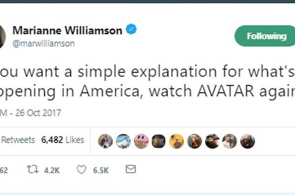 Marianne Williamson, a presidential hopeful, tweets on