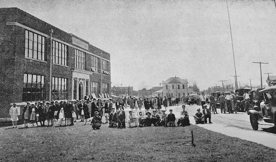 A scene from in front of David Crockett High School in Conroe during the 1927-28 school year. A corner stone was laid this week in 1926. Photo: Photo From CHS Yearbook The Bluebell