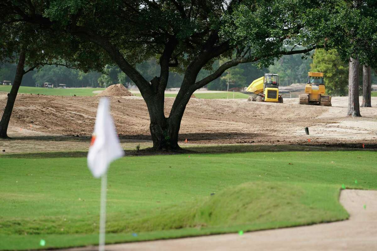 The 12th green is shown as Memorial Park golf course undergoes renovations Friday, June 28, 2019, in Houston.