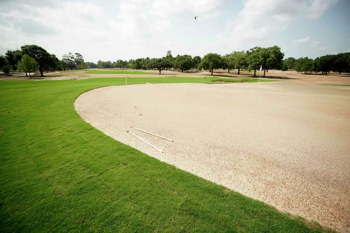 The 10th green is shown as Memorial Park golf course undergoes renovations Friday, June 28, 2019, in Houston.