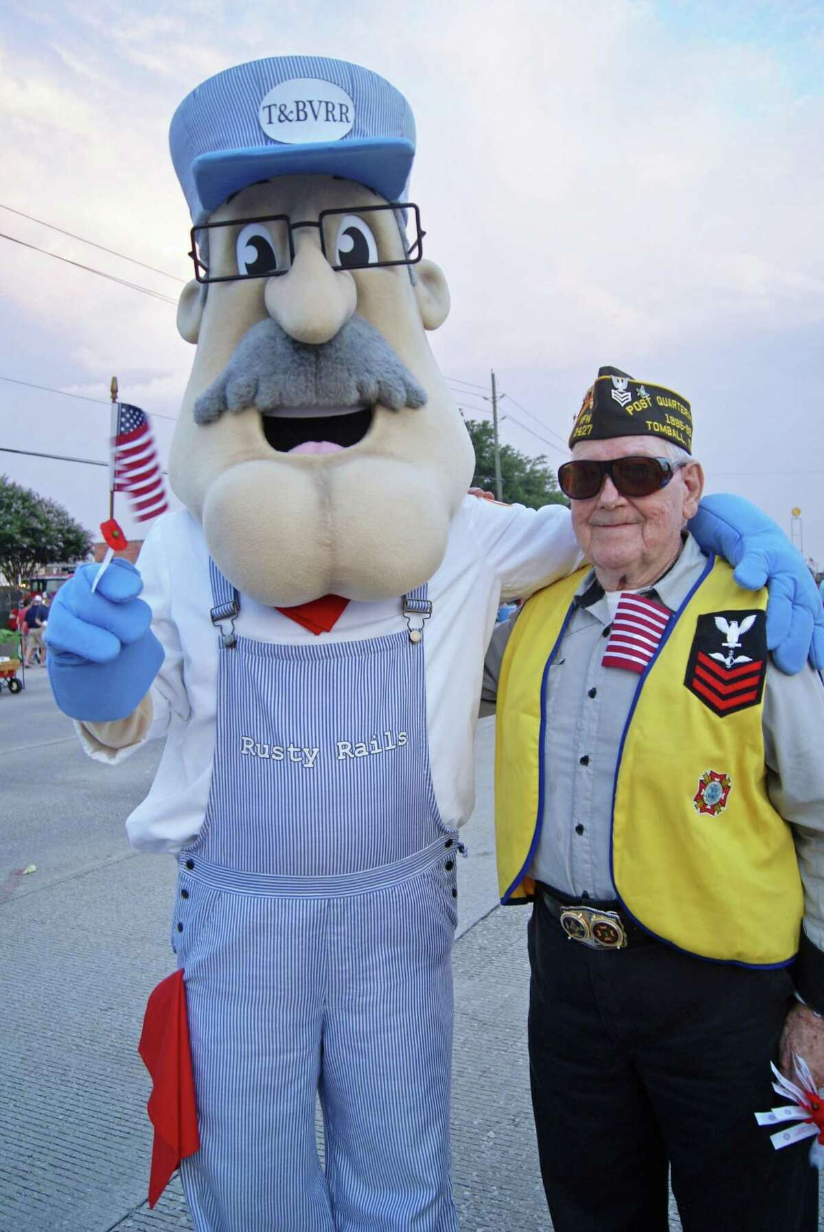 Rusty Rails, the Tomball Railroad Depot's mascot, poses for a photo during Tomball's July 4th Celebration and Street Festival.