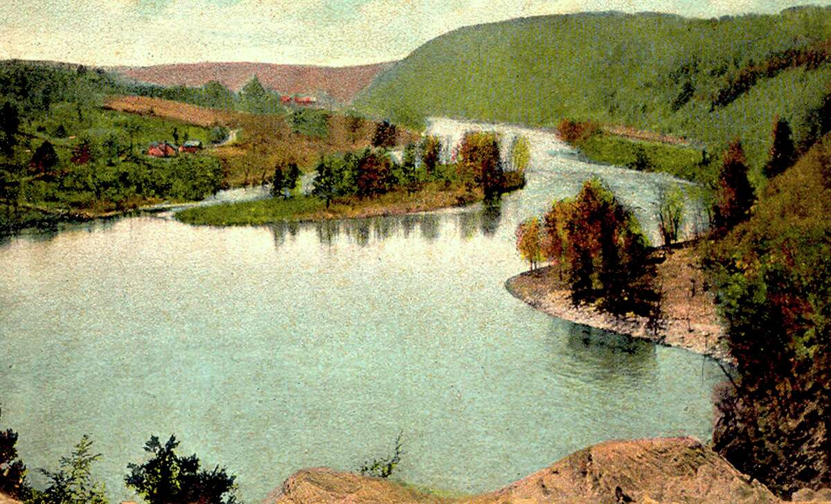This postcard, dated Aug. 10, 1915, depicts The Cove below Lover's Leap on the Housatonic River, pre-dating Lake Lillinonah, at the intersection of the towns of New Milford, Bridgewater and Brookfield.