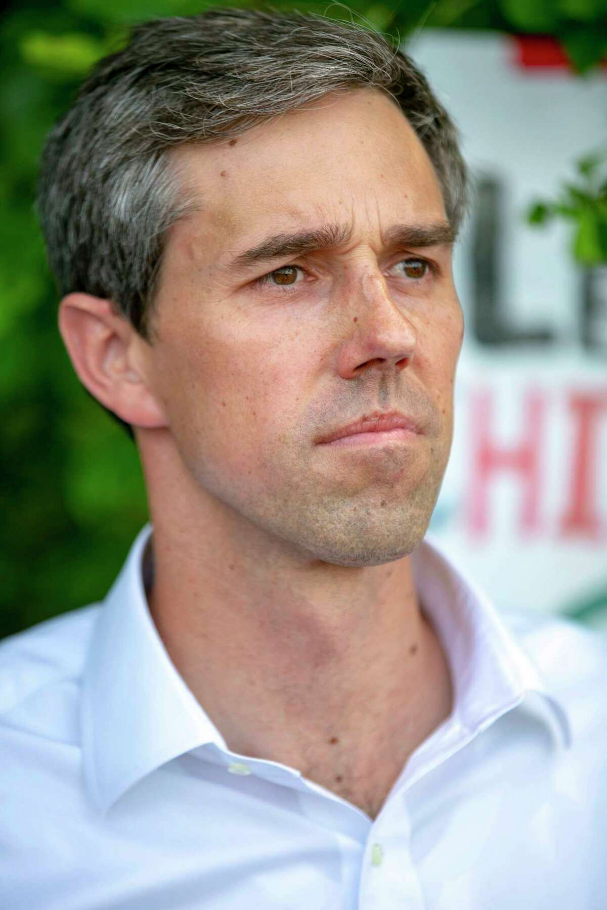 Democratic presidential candidate Beto O'Rourke looked emotional after being asked what he felt looking at the Homestead Detention Center ahead of the second Democratic Debates, in Homestead, Fla., on Thursday, June 27, 2019. (Daniel A. Varela/Miami Herald via AP)