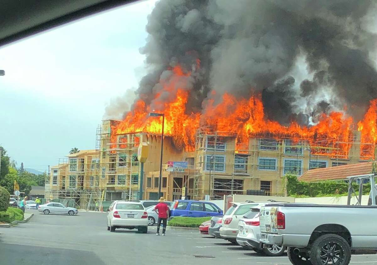 A massive blaze erupted at the construction site for a residential building in Santa Clara on Friday morning.
