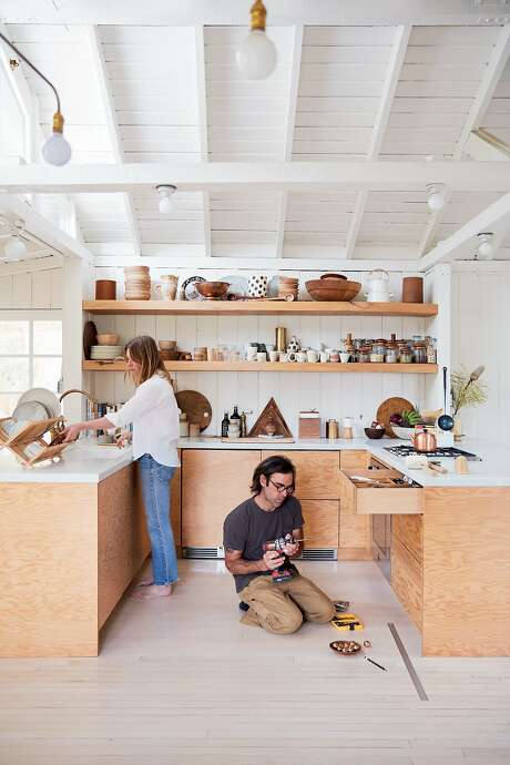 "Serena Mitnik-Miller and her husband Mason St. Peter co-founded S.F. design shop General Store, which now has other locations, including Los Angeles, where the couple renovated a 1927 hunting lodge in Topanga Canyon. They knocked down walls and gave the place a fresh coat of white paint. Their book, ""Abode: Thoughful Living With Less"" (Abrams; 2019), gives step-by-step instructions on the DIY projects they undertook. Photo: Mariko Reed"