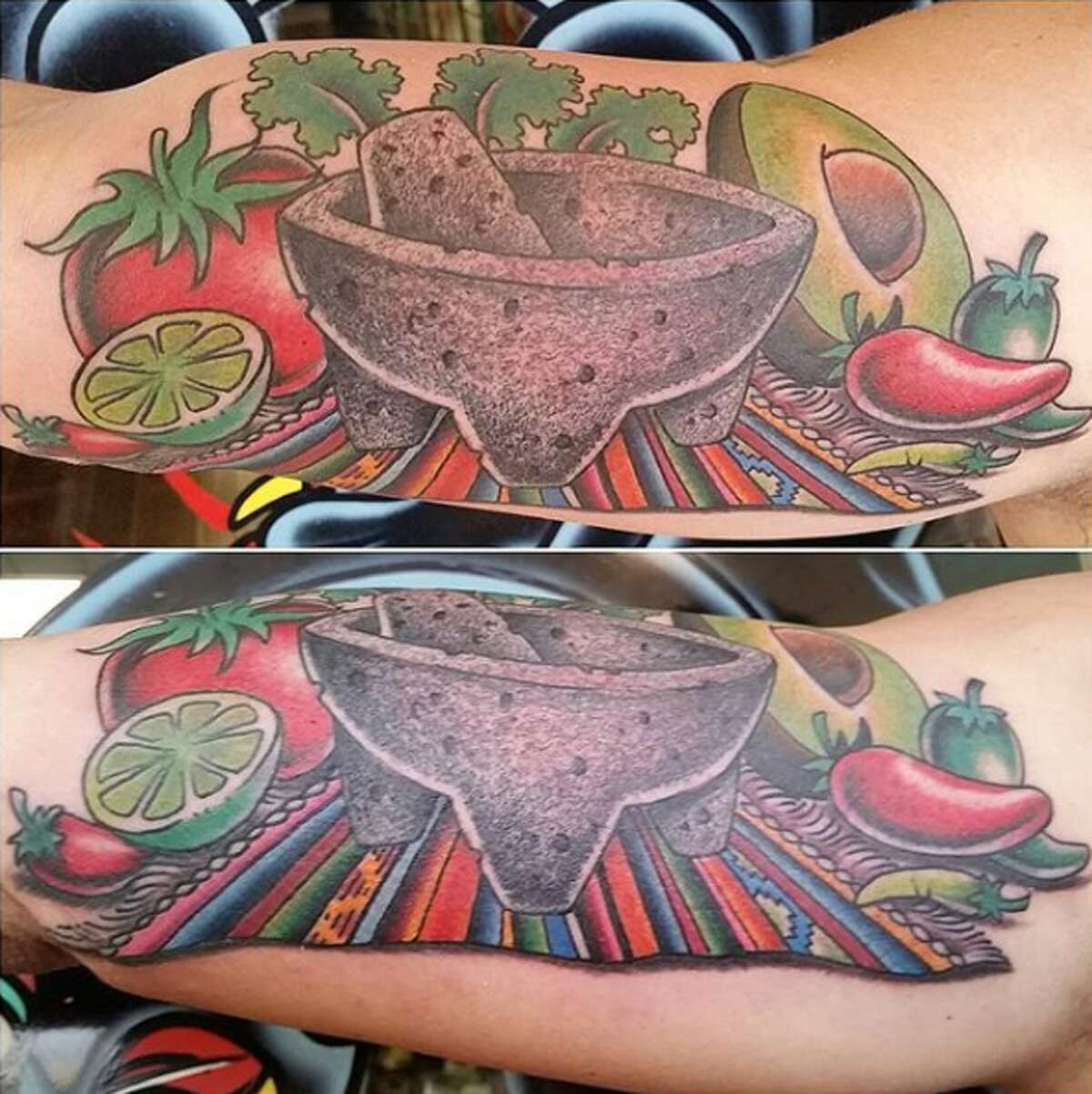 Kelly Edwards, owner of Eternal Courage Tattoo, shared photos of a memorial piece he completed for a client that includes a molcajete sitting in the center of a serape, surrounded by typical ingredients for guacamole.