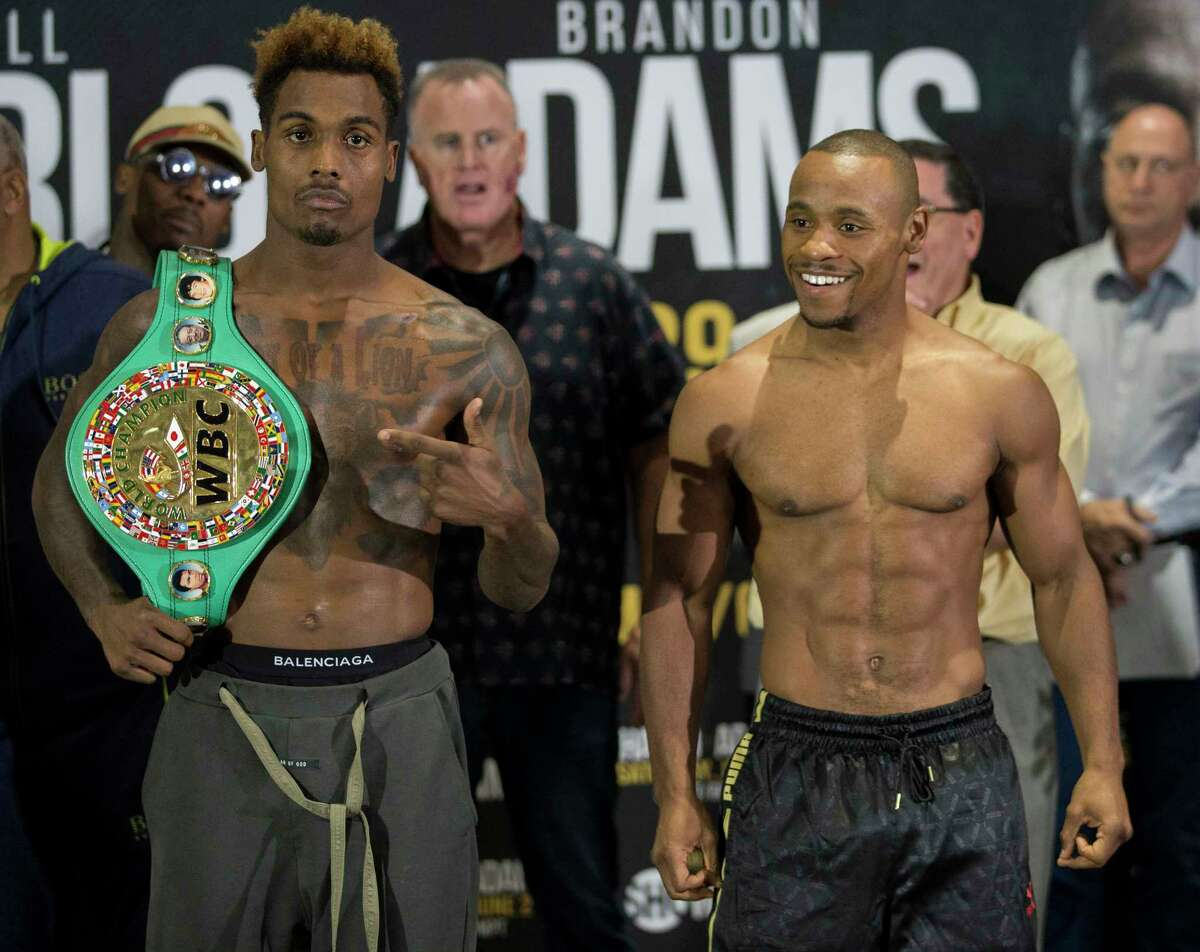 PHOTOS: More from Friday's Jermall Charlo-Brandon Adams weigh-in Unbeaten Interim WBC Middleweight Champion Jermall Charlo Jermall Charlo and challenger Brandon Adams stare down during wieght-in at NRG Center on Friday, June 28, 2019, in Houston.