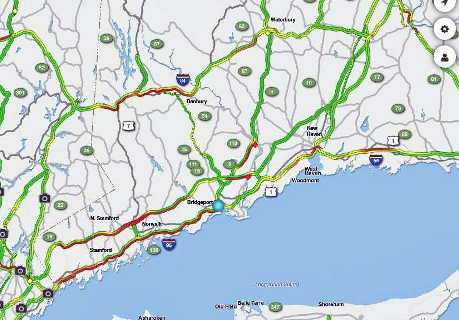 A photo of traffic slowdowns in Connecticut from AAA on June 28, 2019. Photo: Contributed Photo