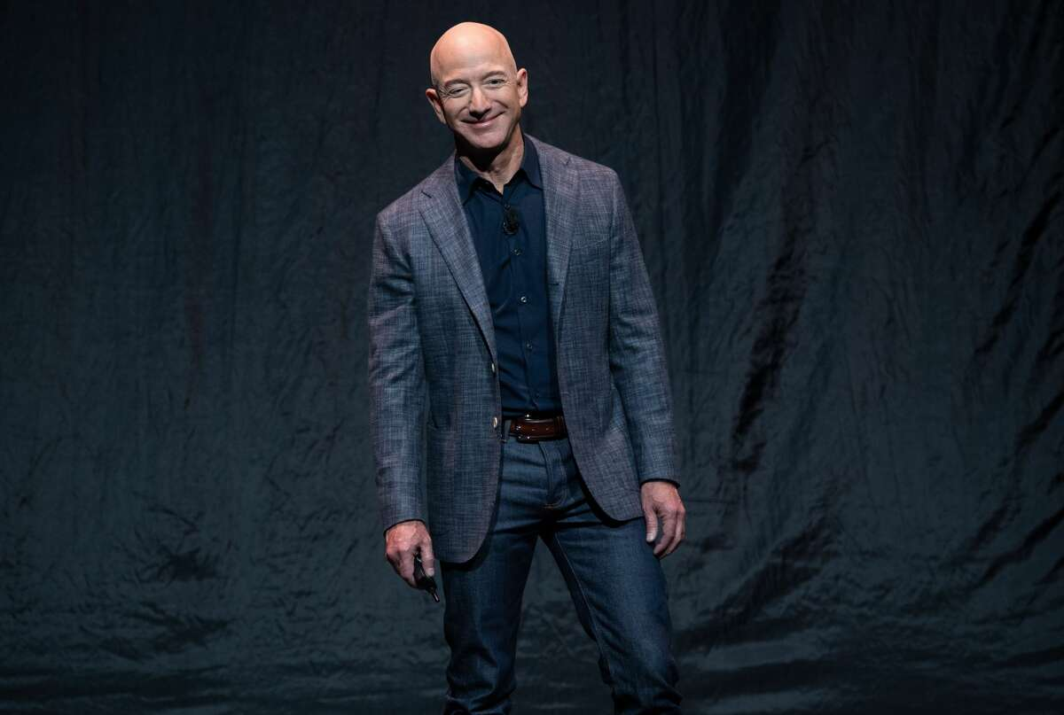 Bezos in 2019, announcing Blue Moon, a lunar landing vehicle for the Moon, during a Blue Origin event in Washington, DC, May 9, 2019.