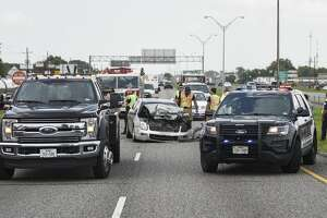 People were taken to the hospital Friday afternoon after two cars were involved in an accident resulting in one, the red truck, flipping. Photo taken on Tuesday, 6/28/19. Ryan Welch/The Enterprise