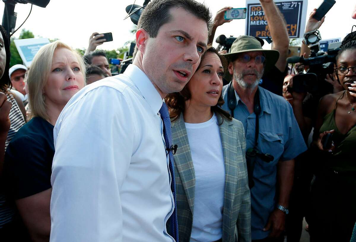 Democratic presidential hopefuls (fromL) Kirsten Gillibrand, Pete Buttigieg and Kamala Harris wait to enter the office where migrant children are being held in a detention center in Homestead, Florida on June 28, 2019. - They were denied entry to the facility. (Photo by RHONA WISE / AFP)RHONA WISE/AFP/Getty Images