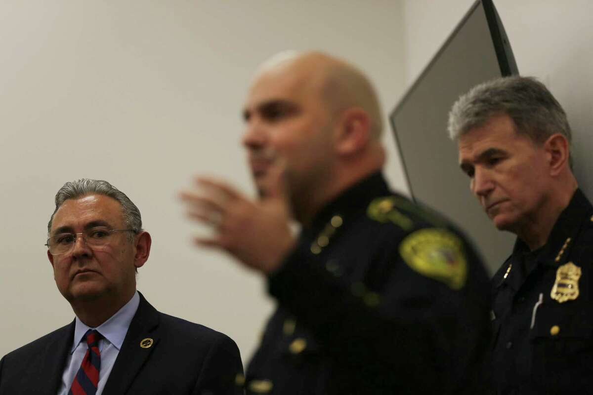 Bexar County Sheriff Javier Salazar, center, speaks at a news conference June 28, 2019, about the new cite and release program. District Attorney Joe Gonzales, left, set up the program, which has the support of Salazar and San Antonio Police Chief William McManus, right.