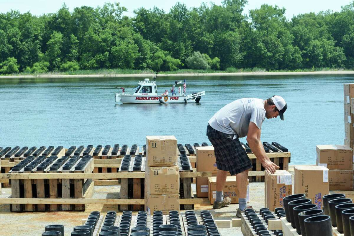 Middletown's Fourth of July festival is set for Saturday from 5 to 10 p.m. A 140-foot barge will be stationed on the Connecticut River, where the pyrotechnics display will be set off at dusk. American Fireworks employees and Middletown fire officials were on hand Friday morning to watch the company unload the shells of varying sizes, and supervise the operation's safety.