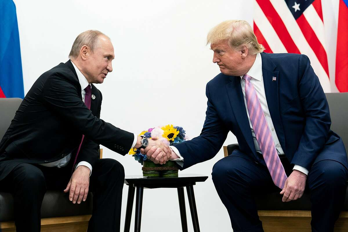 President Donald Trump meets with President Vladimir Putin of Russia on Friday, June 28, 2019, on the sidelines of the Group of 20 summit in Osaka, Japan. (Erin Schaff/The New York Times)