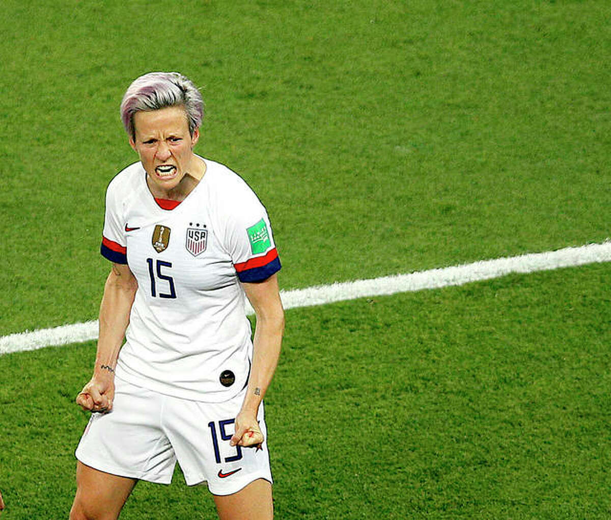 Megan Rapinoe of the U.S. celebrates after scoring her team's second goal against France in Friday's Women's World Cup quarterfinal match in Paris.