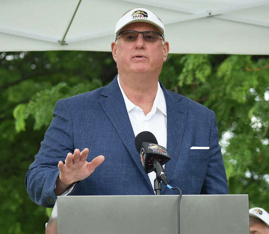 SIUE athletic director Brad Hewitt talks to a crowd at the groundbreaking ceremony for the Harry Gallatin Indoor Golf Facility on June 20 at Sunset Hills Country Club. Photo: Matt Kamp|The Intelligencer
