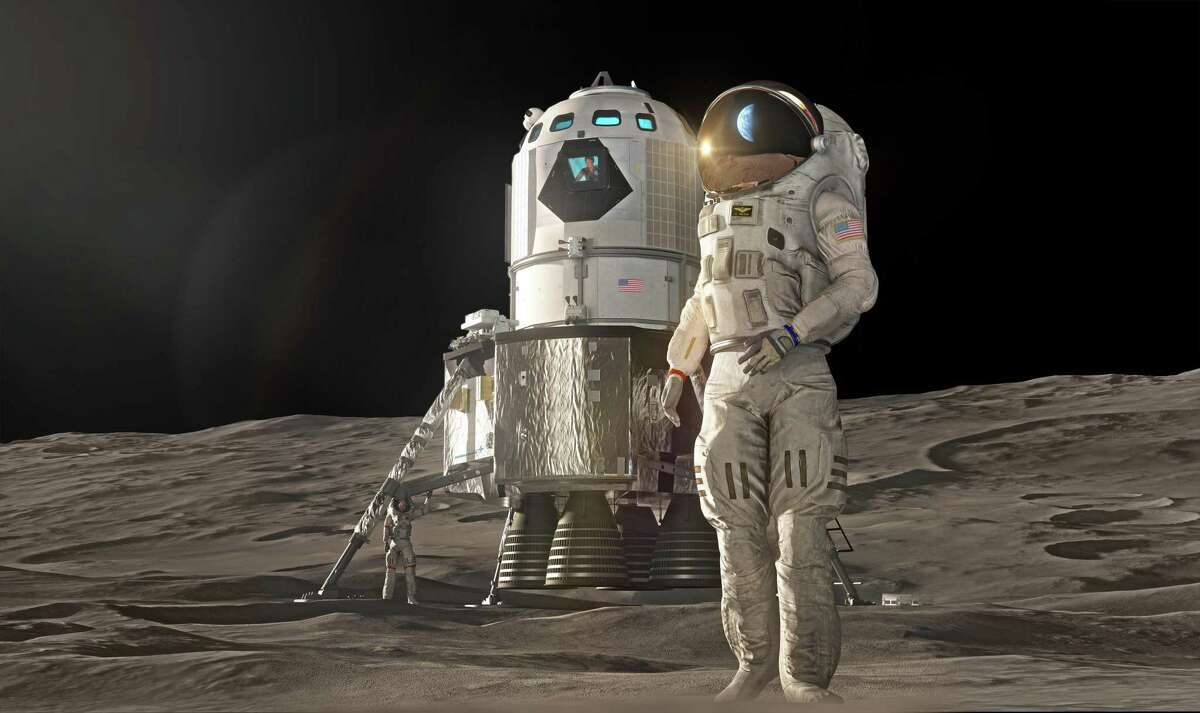 Pictured here is an artist rendering by Lockheed Martin of a crewed two stage lunar lander. On April 10, 2019, Lockheed Martin released a plan that would allow humans to step foot on the moon by 2024 -- a date Vice President Mike Pence has directed NASA to meet.