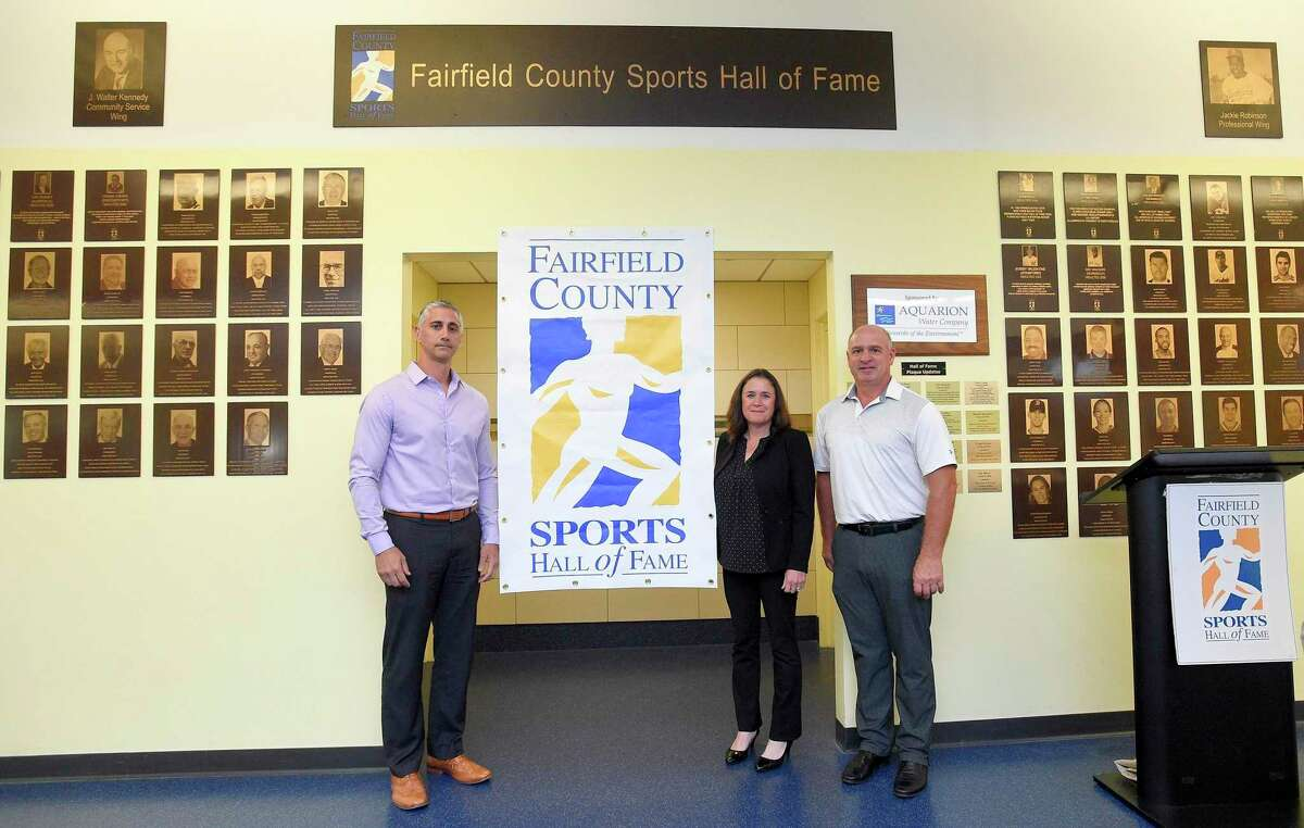 From left, Pete Tucci Jr., Heather Daly-Donofrio and Roger Haggerty are photograph following the announcement of Fairfield County Sports Hall of Fame class of inductees at Chelsea Piers Connecticut in Stamford, Conn. on June 28, 2018. Not in attendance for today's announcement were inductee's Charlie Morton, Pat Dufficy, Guy whitten and the late Jack Casagrande.
