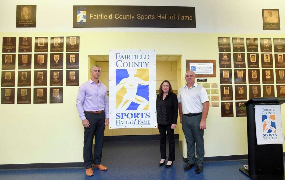 From left, Pete Tucci Jr., Heather Daly-Donofrio and Roger Haggerty are photograph following the announcement of Fairfield County Sports Hall of Fame class of inductees at Chelsea Piers Connecticut in Stamford, Conn. on June 28, 2018. Not in attendance for today's announcement were inductee's Charlie Morton, Pat Dufficy, Guy whitten and the late Jack Casagrande. Photo: Matthew Brown / Hearst Connecticut Media / Stamford Advocate