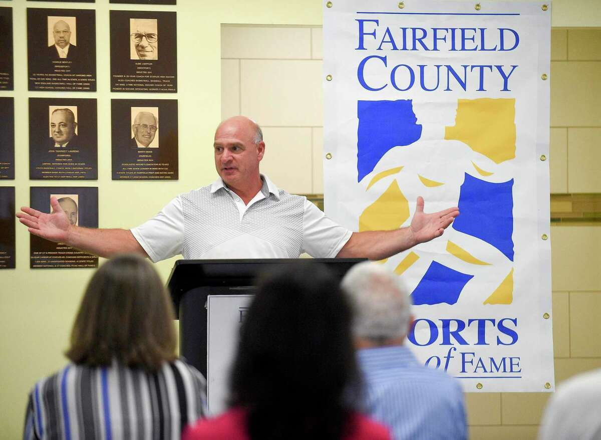 Roger Haggerty speaks during the announcement of Fairfield County Sports Hall of Fame class of inductees at Chelsea Piers Connecticut in Stamford, Conn. on June 28, 2018.
