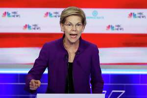 Sen. Elizabeth Warren, D-Mass., speaks during the first night of the Democratic presidential debate on Wednesday in Miami. Warren has been releasing well thought-out policies on a variety of important issues.
