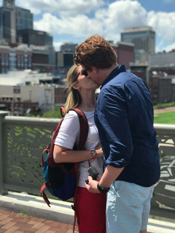 WNYT sports reporters Ashley Miller and Chris Onorato got engaged in Nashville. Photo: Courtesy Of Ashley Miller