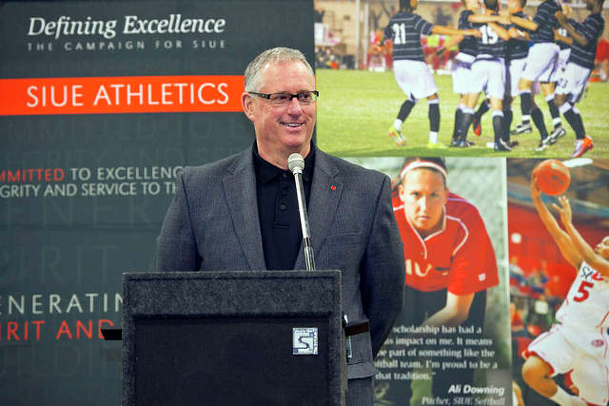 SIUE athletic director Dr. Bradley Hewitt speaks at the dedication of the Cougars softball facility ins 2012.