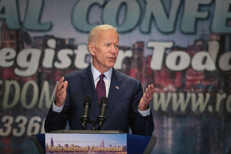 Democratic presidential candidate, former Vice President Joe Biden speaks to guests at the Rainbow PUSH Coalition Annual International Convention on June 28 in Chicago. Photo: Scott Olson / Getty Images / 2019 Getty Images