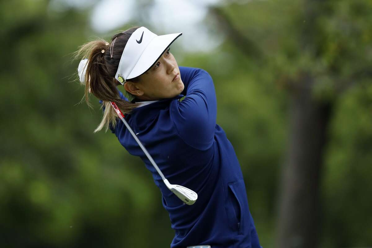 Michelle Wie hits off the 17th tee during the second round of the KPMG Women's PGA Championship golf tournament, Friday, June 21, 2019, in Chaska, Minn. (AP Photo/Charlie Neibergall)