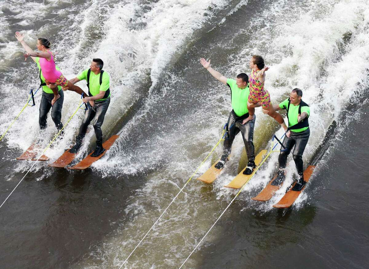 Members of the U.S. Water Ski Show team perform various stunts on Friday, June 28, 2019 on the Mohawk River behind Jumpin' Jack's in Scotia, NY. (Phoebe Sheehan/Times Union)
