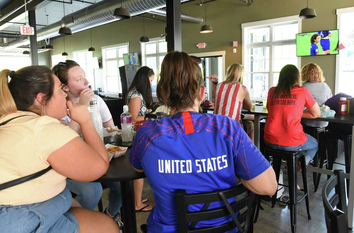 Soccer fans gather to watch the US Women's National Team take on host France during a viewing party at Afrim's Sports Park on Friday, June 28, 2019 in Colonie, N.Y. (Lori Van Buren/Times Union)