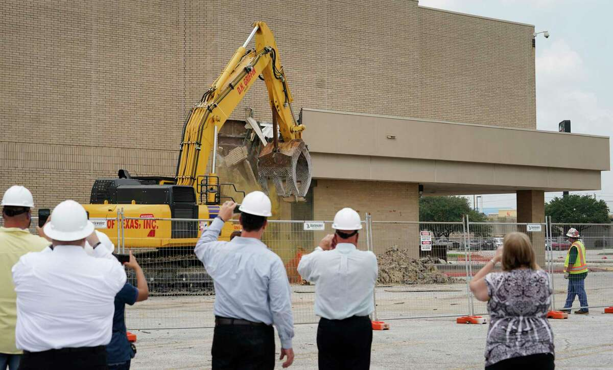 Crews began to demolish a portion of the San Jacinto Mall Friday, June 28, 2019, in Baytown. Only part of the mall is being demolished, both Macy's and JCPenney will stay remain. The rebuilt shopping area will be named San Jacinto Marketplace.