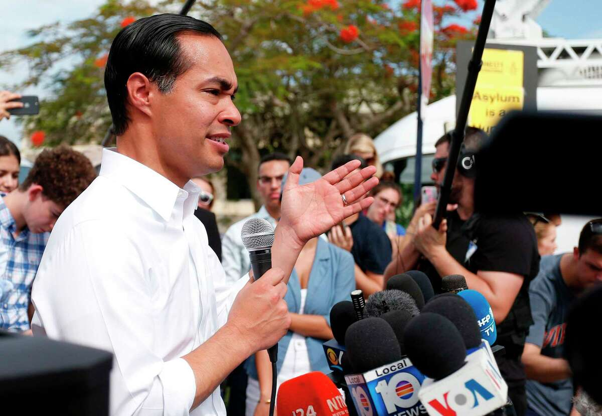 Democratic presidential hopeful Julian Castro addresses the media about migrant children in front of a detention center in Homestead, Florida on June 28, 2019