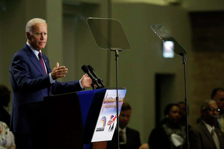 """Former Vice President Joe Biden, a Democratic presidential hopeful, addresses a labor luncheon in Chicago, June 28, 2019. A day after a bruising debate, Biden provided a lengthy and vigorous defense of his record, saying here that """"30 seconds to 60 seconds on a campaign debate exchange can't do justice to a lifetime committed to civil rights.""""  (Joshua Lott/The New York Times) Photo: JOSHUA LOTT, STR / NYT / NYTNS"""