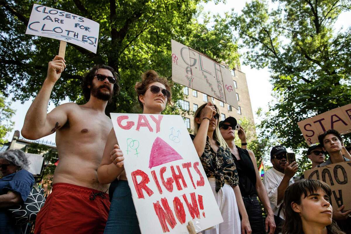 Rallygoers during the Stonewall 50 rally in Manhattan, on Friday, June 28, 2019. The rally at the historic Stonewall Inn in Greenwich Village commemorates a seminal moment in the gay rights movement 50 years ago: a police raid and the LGBTQ community fighting back. (Brittainy Newman/The New York Times)