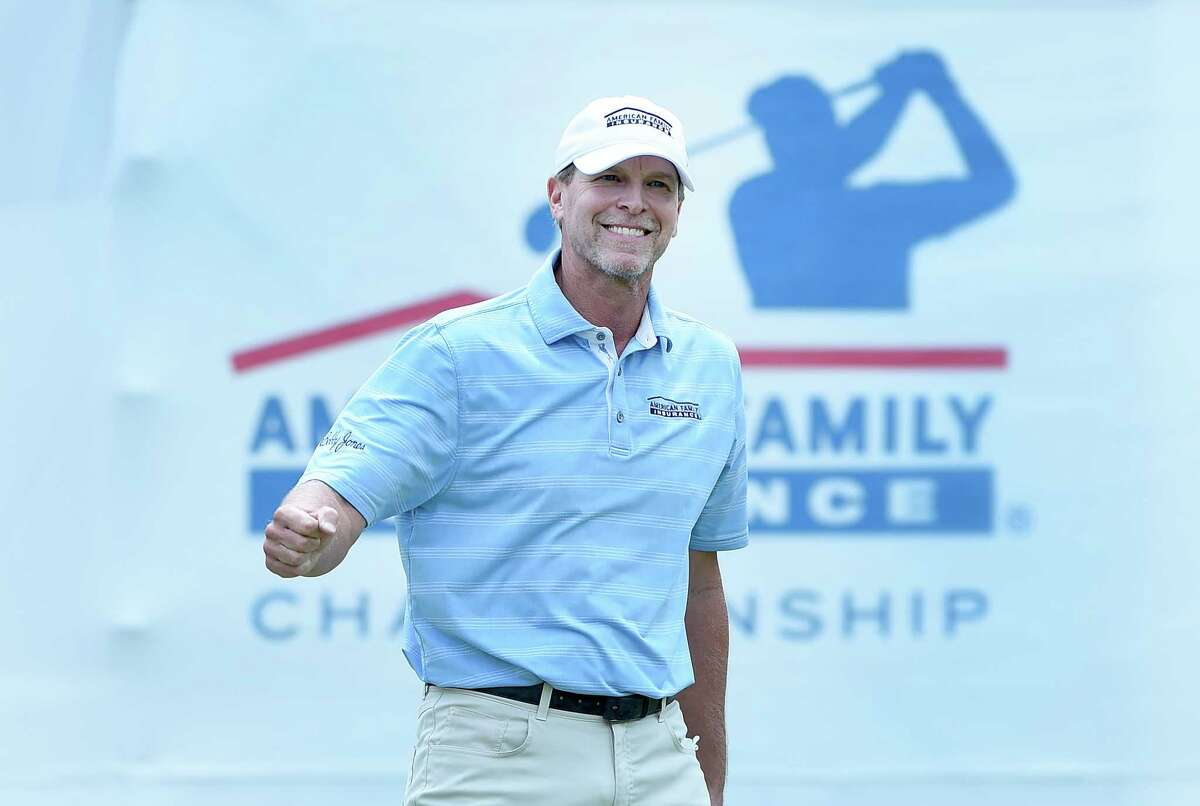 MADISON, WISCONSIN - JUNE 21: Steve Stricker reacts after sinking his birdie putt on the 18th hole during the first round on the American Family Insurance Championship at University Ridge Golf Course on June 21, 2019 in Madison, Wisconsin. (Photo by Steve Dykes/Getty Images)