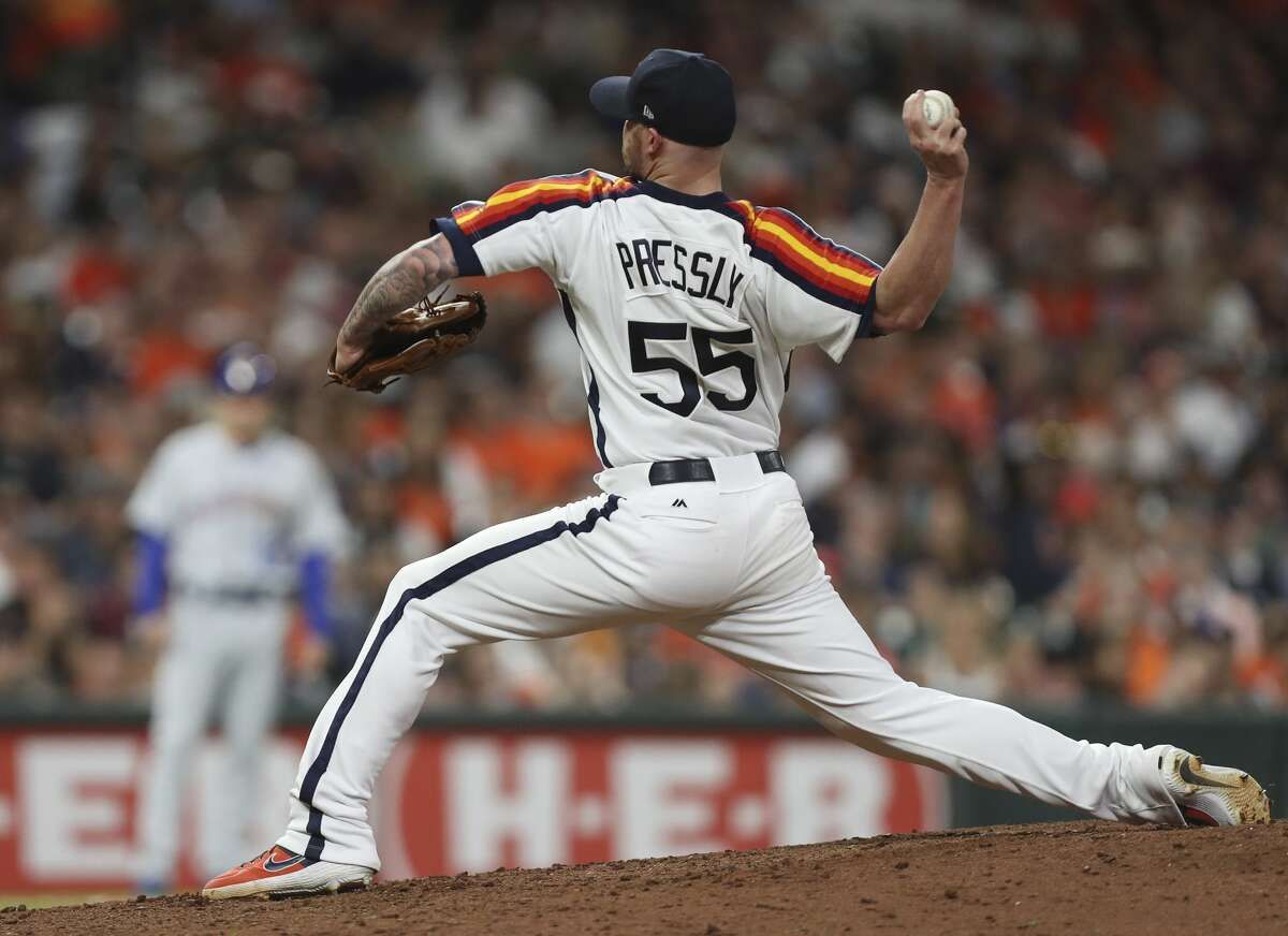 PHOTOS: 2019 Houston Astros game-by-game Houston Astros relief pitcher Ryan Pressly (55) pitches during the eighth inning of a major league baseball game at Minute Maid Park on Friday, June 28, 2019, in Houston. >>>See how the Astros have fared in each game this season ...