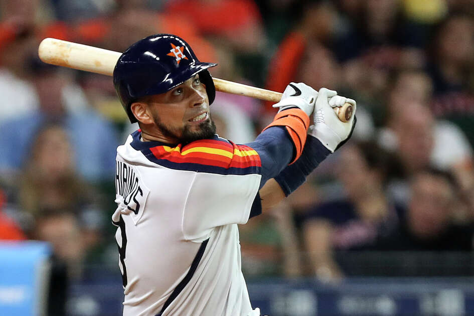 Houston Astros catcher Robinson Chirinos (28) doubles during the second inning of a major league baseball game at Minute Maid Park on Friday, June 28, 2019, in Houston.