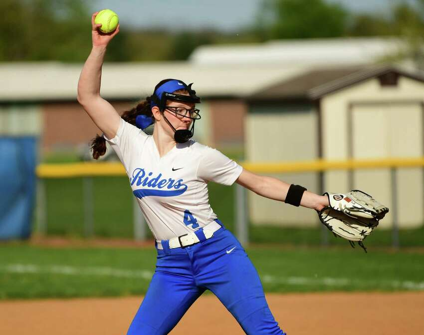 Ichabod Crane pitcher Bella Milazzo throws the ball during a softball game against Mohonasen on Wednesday, May 8, 2019 in Valatie, N.Y. (Lori Van Buren/Times Union)