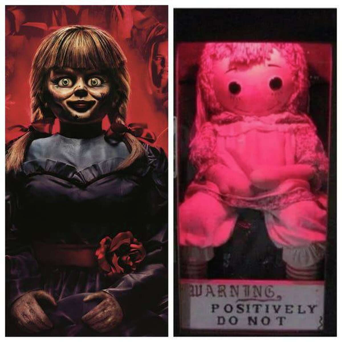 """The Hollywood version of Annabelle (left) is a bit more sinister than the real doll (right), part of a collection of """"supernatural"""" objects based in southern Connecticut."""