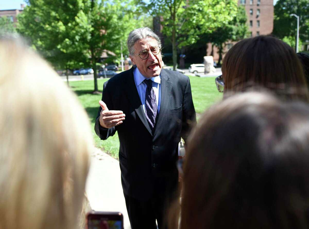 Fotis Dulos' attorney Norm Pattis speaks after making an appearance at Connecticut Superior Court in Stamford, Conn. Wednesday, June 26, 2019. Fotis Dulos appeared with his attorneys, Norm Pattis and Rich Rochlin, for a hearing Wednesday on motion by a divorce attorney for Jennifer Dulos to have Fotis Dulos and his attorneys held in contempt and for the court to impose sanctions for violating a judge's order that sealed a custody and psychological evaluation conducted on the Dulos family.