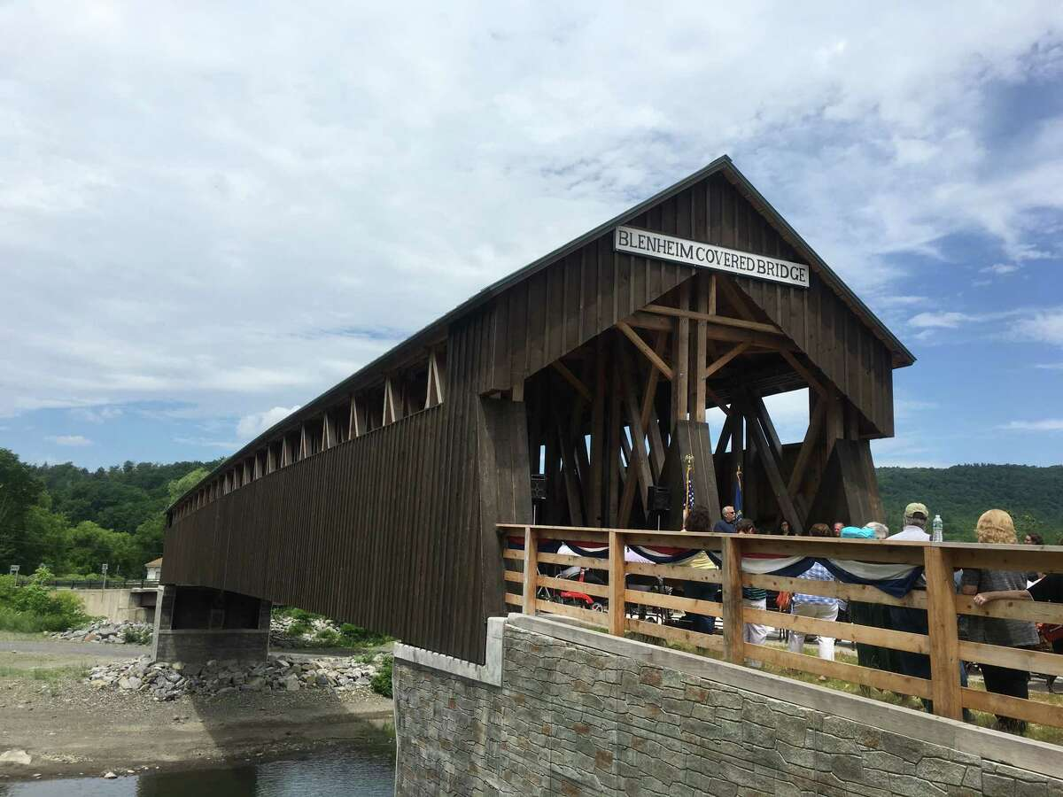 The Blenheim Covered Bridge officially reopened Saturday after residents in the small Schoharie County town spent years trying to secure funding to rebuild the historic monument, which was destroyed by Tropical Storm Irene in 2011.