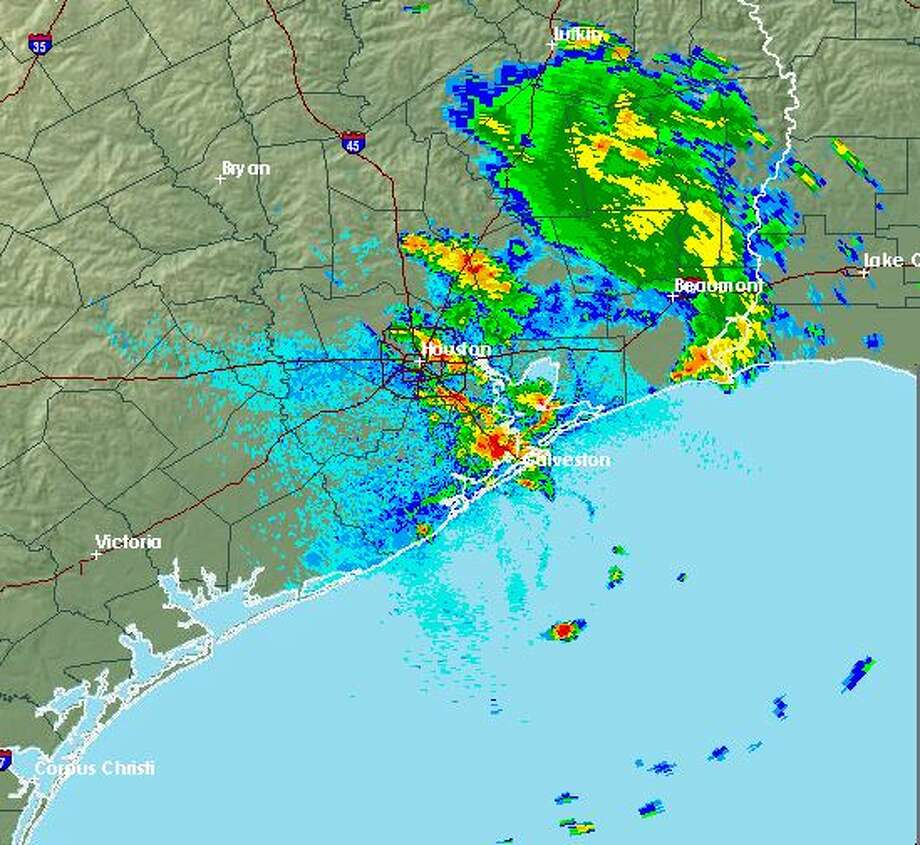 Heavy rain and strong wind swept through the Houston-Galveston area Saturday with potential hail storms coming in later this evening. Heavy rain and strong wind swept through the Houston-Galveston area Saturday with potential hail storms coming in later this evening. Photo: NOAA