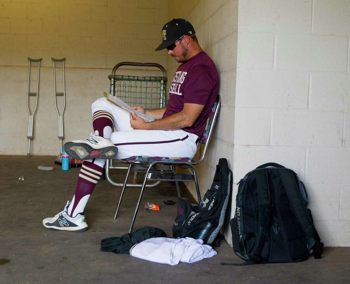 Magnolia West head coach Justin Faltysek is seen before the first inning of Game 3 during a Region III-5A final series at Blue Bell Park on the campus of Texas A&M University, Saturday, June 1, 2019, in College Station.