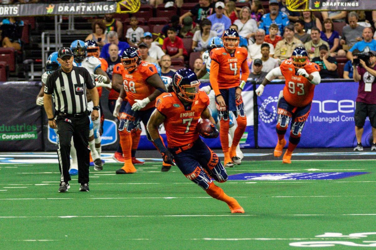 Malachi Jones looks to pick up yardage after hauling in a pass for the Albany Empire against the Philadelphia Soul at Wells Fargo Center in Phildelphia on Saturday, June 29, 2019. (Courtesy of Vernon Ray)
