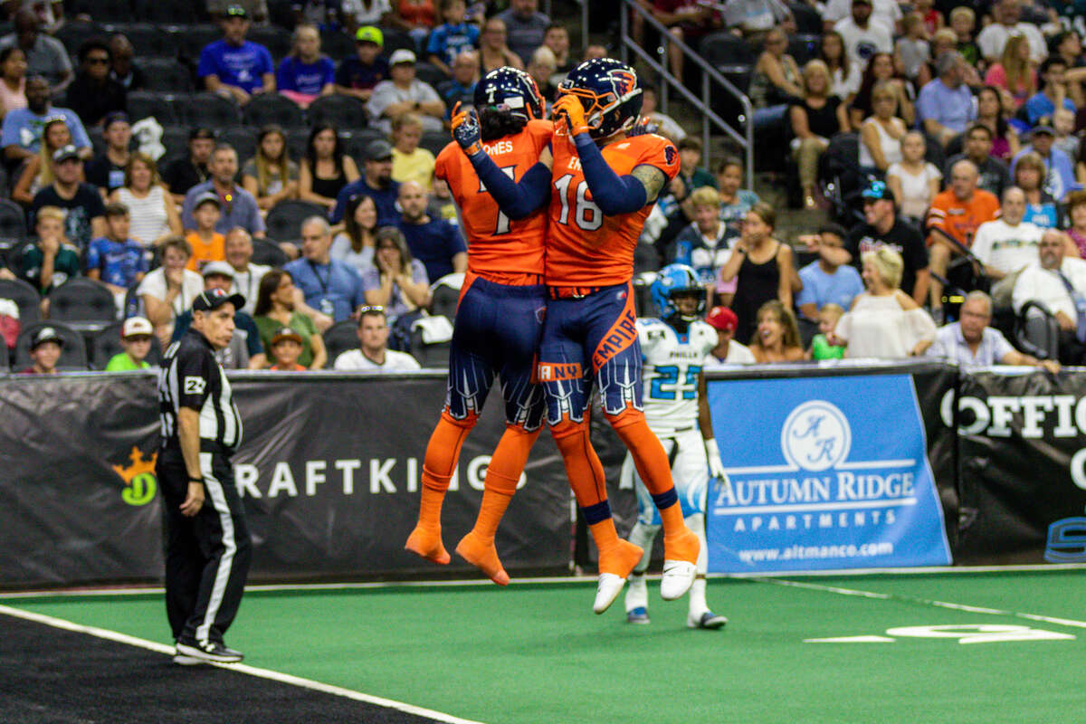 Albany Empire receivers Malachi Jones, left, and Quentin Sims celebrate a score against Philadelphia in their Arena Football game on Saturday, June 29, 2019. (Courtesy of Vernon Ray)