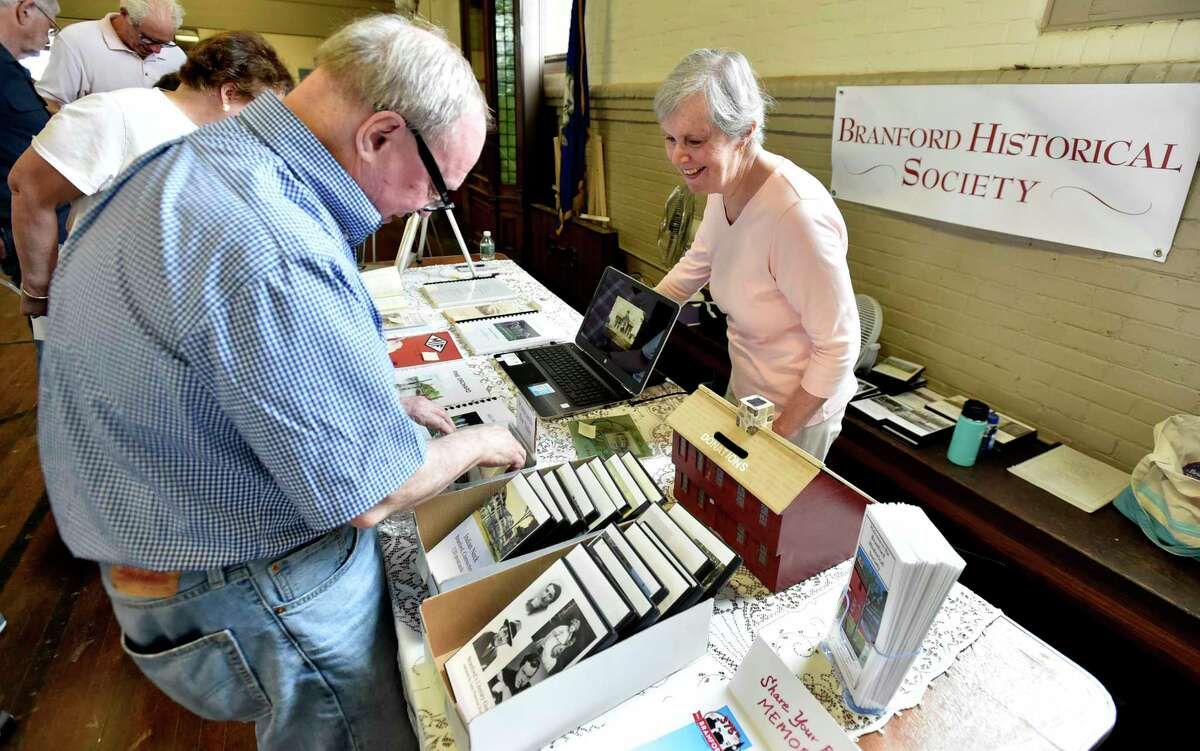 Branford, Connecticut - Saturday, June 29, 2019: The Branford 375th Anniversary Celebration at the Armory Saturday at the Connecticut National Guard Armory in Branford sponsored by the Branford Arts and Cultural Alliance, the Branford Historical Society, the Second Company Governor's Foot Guard, and the First Congregational Church in celebration of the 375th anniversary of the town's founding. The celebration included an art exhibit of Branford scenes past and present, historical artifacts and photographs of the town's different communities, a and music among other activities and exhibits,