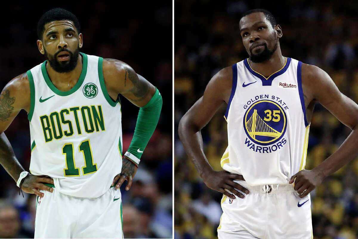 FILE - At left, in a March 20, 2019, file photo, Boston Celtics' Kyrie Irving is shown during an NBA basketball game against the Philadelphia 76ers in Philadelphia. At right, in a May 8, 2019, file photo, Golden State Warriors' Kevin Durant is shown during the first half of Game 5 of the team's second-round NBA basketball playoff series against the Houston Rockets in Oakland, Calif. Rarely relevant at the same time on the basketball court, the Knicks and Nets are front and center in the free agency race, two of the teams best positioned to make a splash when the market opens. Both can afford two top players, with hopes of landing not only a Kevin Durant or Kyrie Irving, but possibly even both. (AP Photo/File)